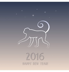 New year card with a monkey - symbol of 2016 vector