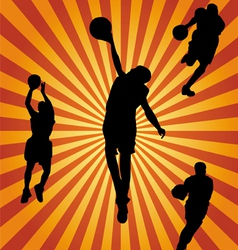 Basketball silhouette collection vector