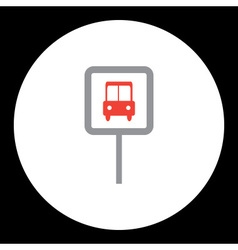 Public transport bus stop sign icon eps10 vector