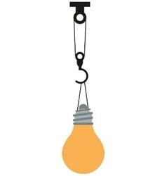 Regular lightbulb held by crane icon vector