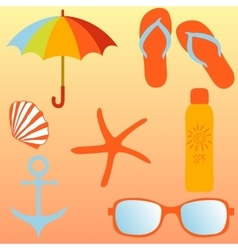 Beach set items for a beach holiday vector