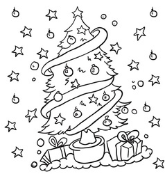 black and white christmas tree vector image vector image