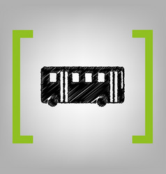 Bus simple sign black scribble icon in vector