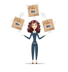 Business woman holding box vector