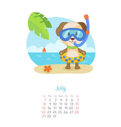 Calendar 2018 months july with dog vector