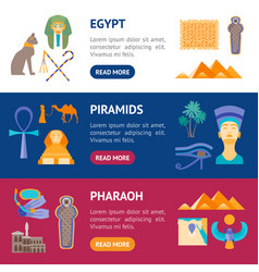 cartoon symbol of egypt banner horizontal set vector image vector image
