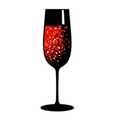 Champagne red black glass vector