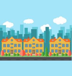 city with three cartoon buildings vector image