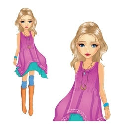 Fashion Girl In Tunic Goes vector image vector image