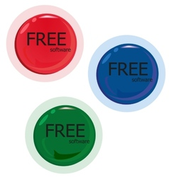 Free software set of red green blue button vector