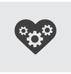 Gear in heart icon vector image vector image