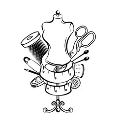 Hand sewing symbol set vector