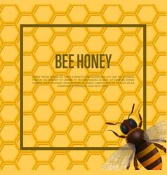 Honeybee on honeycomb retail banner vector