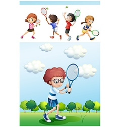 Kids playing tennis in park vector