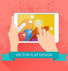 Male hands holding tablet flat design vector image