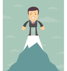Man on top of the world vector image vector image