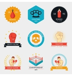 Martial arts labels and badges vector