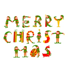 Merry christmas lettering with elves vector