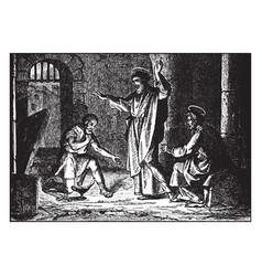 Paul and silas in jail - the jailer kneels before vector