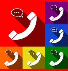 phone with speech bubble sign set of vector image vector image
