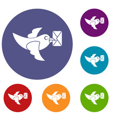 pigeon fly with mail icons set vector image