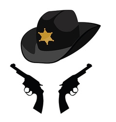 Sheriff hat and revolver vector image