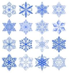 Snowflake blue set vector