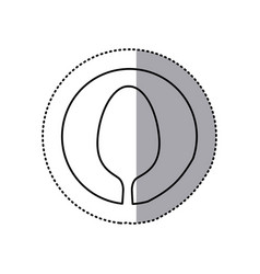 Sticker with sketch of spoon in circle vector