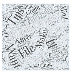 Tips on filing for bankruptcy word cloud concept vector