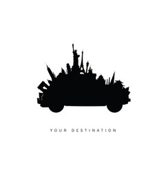 Travel car with famous world icon silhouette vector
