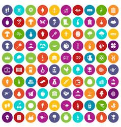 100 farming icons set color vector