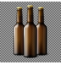 Three transparent brown realistic beer bottles vector
