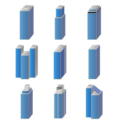 Icons of city buildings set vector