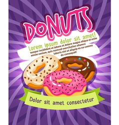Chocolate and sugar glazed donut bakery poster vector