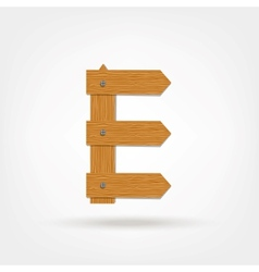 Wooden boards letter e vector