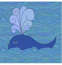 Cute unusual cartoon decorative whale in the sea vector