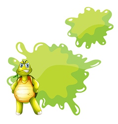 An angry turtle with an empty template at the back vector image