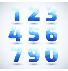 Blue numbers set modern geometric style vector