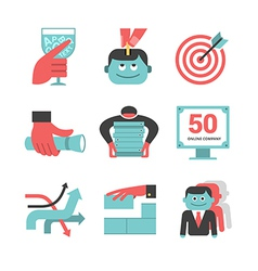 Content management flat icons set part 1 vector