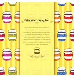 Background jars with jam in doodle style with vector