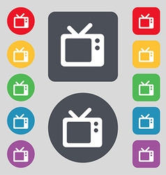 Retro tv icon sign a set of 12 colored buttons vector