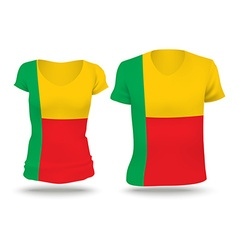 Flag shirt design of benin vector