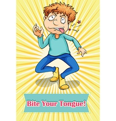 Idiom bite your tongue vector