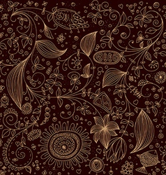Dark hand drawn floral background vector