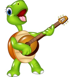 Cartoon turtle playing a guitar vector