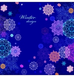 Winter design with pink and blue snowflakes on vector