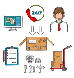 Delivery and logistics service icons vector