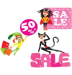 Set of funny Super hero Girls vector image