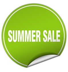 Summer sale round green sticker isolated on white vector