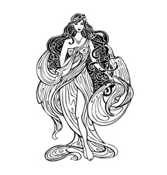 Art nouveau styled woman vector